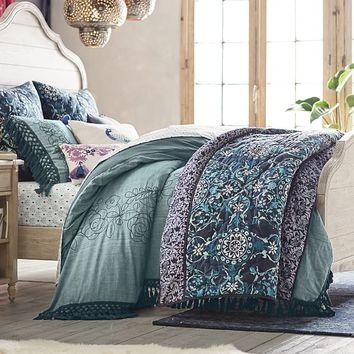 Lennon & Maisy Embroidered Tassel Duvet Cover + Sham