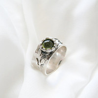 Flower band ring , Flower Ring , silver ring , olive ring , wide band ring , leaf ring , silver leaf ring