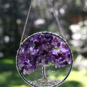 SunCatcher Tree of Life - Amethyst Gemstone on Silver Wire Wrapped Tree - Sun Catcher Window Wall Ornament Handmade Gemstones