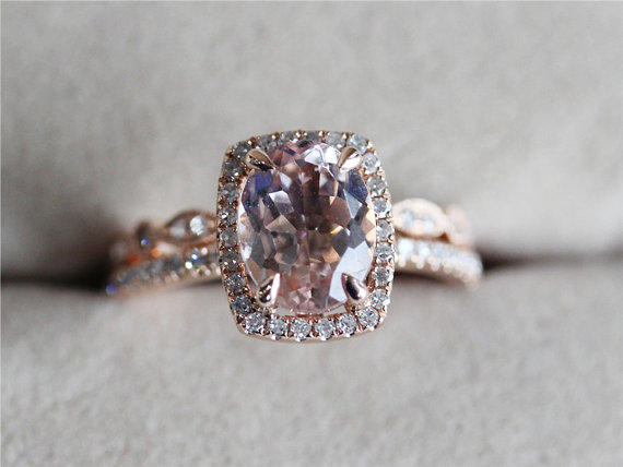 VS 7x9mm Pink Morganite Ring w Full from AbbyandWills on Etsy
