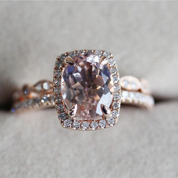 VS 7x9mm Pink Morganite Ring w/ Full Eternity Diamond Matching Band Wedding Ring Set 14K Rose Gold Morganite Ring Engagement Ring - Discount