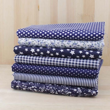 7pcs Navy 100% Cotton Quilting Fabric for DIY Sewing Patchwork Kids Bedding Bags Tilda Doll Baby Cloth Textiles Fabric 50*50cm (Size: 0, Color: Multicolor) = 1929706500