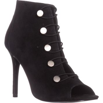 Charles by Charles David Royality Peep Toe Booties, Black Suede, 7 US