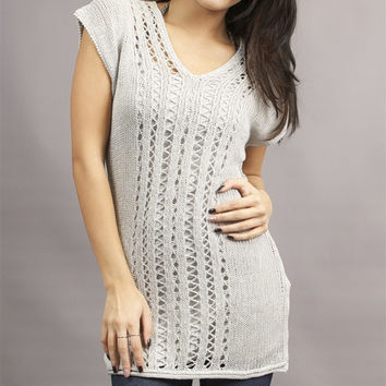 Miilla V-Neck Crochet Tunic Sweater