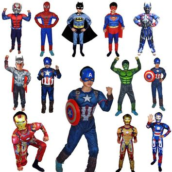 Super Hero Avengers Clothes Jumpsuit Captain America Superman Batman Hulk IronMan Thor Muscle Cosplay Costumes Children's Day