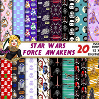 Star Wars Force Awakens digital paper, BB8, Kylo Ren,Rey, Finn,Poe Dameron, party,cards, Scrapbooking Paper, star wars backgrounds, patterns