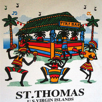 Vintage 90's ST THOMAS US Virgin Islands Reggae Tiki Bar Tourist Souvenir T Shirt Sz M