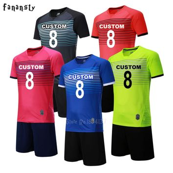 Top quality soccer jerseys kits men custom football jerseys soccer uniforms adult football set suit maillot de foot 2017 2018