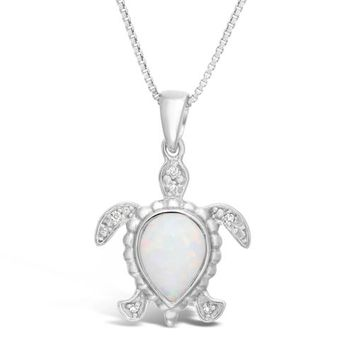 .015 cttw Diamond and Created Opal Turtle Pendant in Sterling Silver 18""