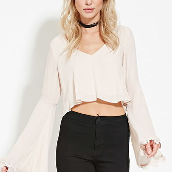 Crochet-Paneled V-Neck Top