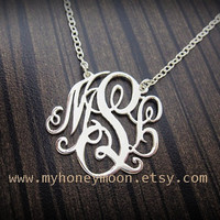 Personalized  Sterling silver Monogram necklace 1 inch wide included chain.
