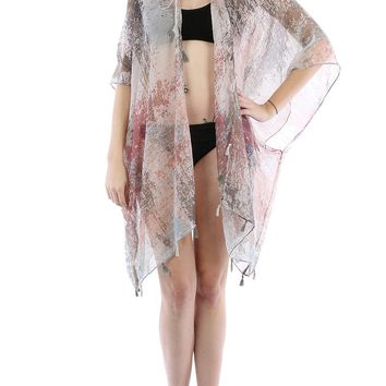 Pink Distressed Print Sheer Cover Up Poncho
