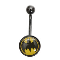 DC Comics 14G Batman Logo Navel Barbell