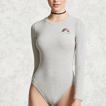 Ribbed Rainbow Patch Bodysuit