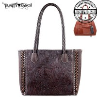 TR25G-8014 Montana West Trinity Ranch Tooled Design Concealed Handgun Collection Handbag-Coffee