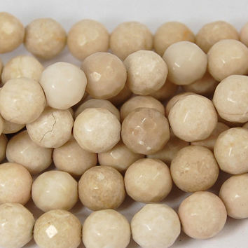Fossil Beads, 6mm Fossil Stone Faceted Cream -15 inch strand