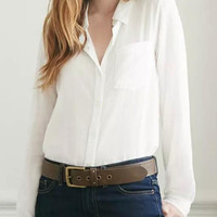 Plain White Long-Sleeve Buttons Collared Chiffon Blouse With Pocket