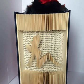 Folded Book Art Risque Girl Book Bachelor Gift Boyfriend Gift Book Sculpture Unique Gift Man Cave Black and Red