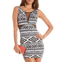 Mesh Inset Aztec Body-Con Dress: Charlotte Russe