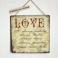 Love Decor / Valentines Day Gift / Inspirational Quote / Scripture / Sign / Home Decor / Wall Art / Red Decor / Vintage Sign