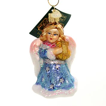 Old World Christmas ANGEL WITH LYRE Glass Ornament Purity Peace 10157 Blue