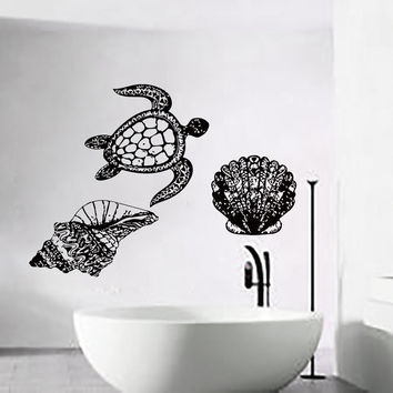 Wall Decals Turtle Decal Vinyl Bathroom Sea Shell Sticker Nursery Bedroom LM205