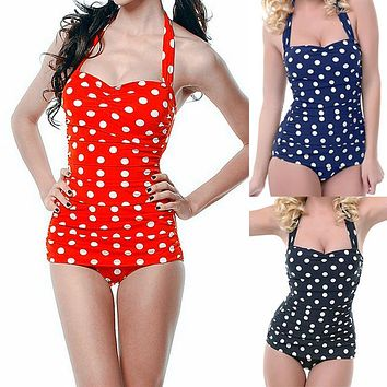 Swimwear Women Plus Size Sexy Polka Dot Swimsuit Halter Bandage Push Up Monokini Retro Swim Bathing Suit
