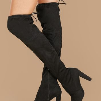 Almond Toe Stretchy Suede Over The Knee Boots
