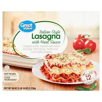 Great Value Italian-Style Lasagna with Meat Sauce Party Size, 90 oz - Walmart.com