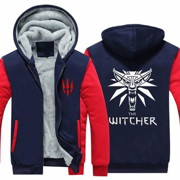 2018 Mens Hoodie winter The Witcher 3 Thicken Fleece Iron Wolf clothes With velvet  clothing zipper jacket hoodie USA size