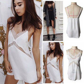 Summer Women V-neck Lace Sleeveless Bodycon Evening Party Loose Montage Mini Short Dress