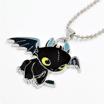 How To Train Your Dragon 2 Toothless Cosplay Accessories Jewelry Night Fury Necklace Metal Charm Pendant