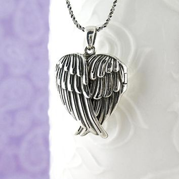 Heart-Shaped Folded Angel Wings Locket