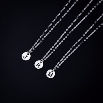 Custom Select Disc Letters Personalized Initial Name Chain Necklace Couple Pendant Jewelry for Women Fashion Love Christmas Gift