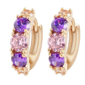 Zircon earrings Fashion color earrings