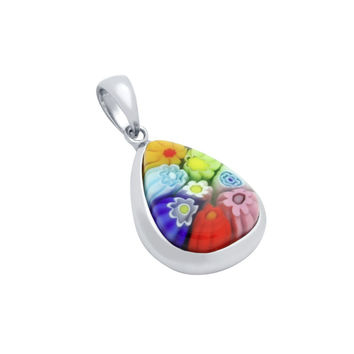 "Sterling Silver Multicolor Glass Murano Millefiori Glass Pendant Drop Shaped  (Free 18"" Chain)"