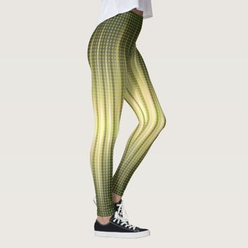 Abstract Golden Green Steady Lights Leggings