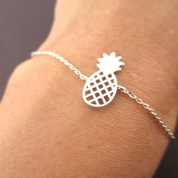 Pineapple Shaped Fruit Charm Bracelet in Silver | DOTOLY