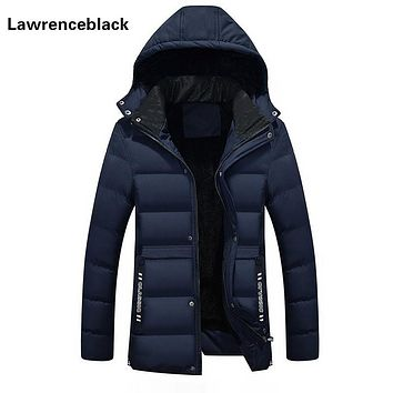 Winter Jacket Men Warm Fashion Hooded Quilted Coat 2017 Solid Color Zipper Down Parka Plus Size Slim Outwear Men Overcoats 860