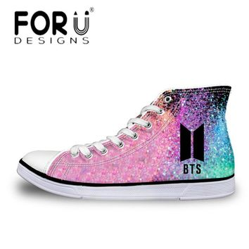 FORUDESIGNS Fashion Kpop BTS Print High-top Canvas Shoes Women Lace Up Vulcanize Shoes Youth Girls Casual Classic Flats Sneakers