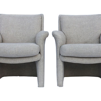 Milo  Baughman Upholstered Chairs, Pair
