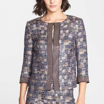 Women's St. John Collection Sunset Tweed Jacket with Pave Sequin Trim