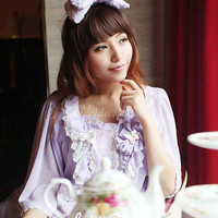 [$48.99] Sweet Polyester Bow Lolita Cape Coat