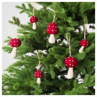 VINTER 2016 Hanging decoration, set of 6 Mushroom - IKEA