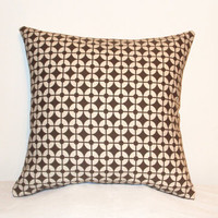 "Pillow Covers 18"" Set of Two - Brown and White Geometric Circle Pattern"