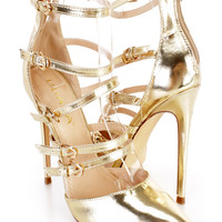 Gold Strappy Single Sole Pointed Toe Heels Faux Leather