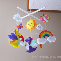 "Dragon Baby Mobile - Nursery Mobile - Rainbow Crib Baby Mobile - ""purple dragon and rainbow "" Mobile (Custom Color Available)"