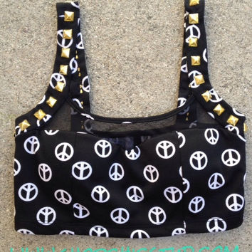 SALE - Studded Bustier Crop Top - Peace Sign Print - Gold or Silver or Black Studs -