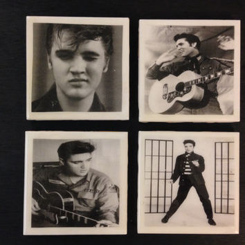 ELVIS Set of 4 Vintage Inspired Custom Designed Handcrafted Coasters Sealed in Epoxy Resin
