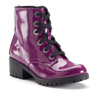 Candie's Girls' Glitter Lace-Up Combat Boots (Purple)
